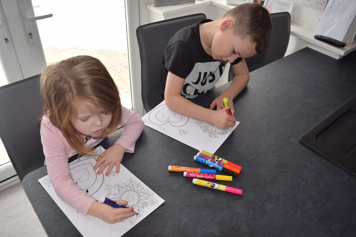 The children are now colouring in their print outs from mrs Mactivity using lots of coloured felt tips