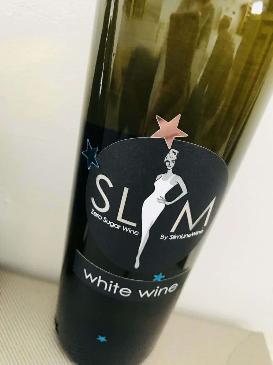 A close up of the slimline wine's bottle