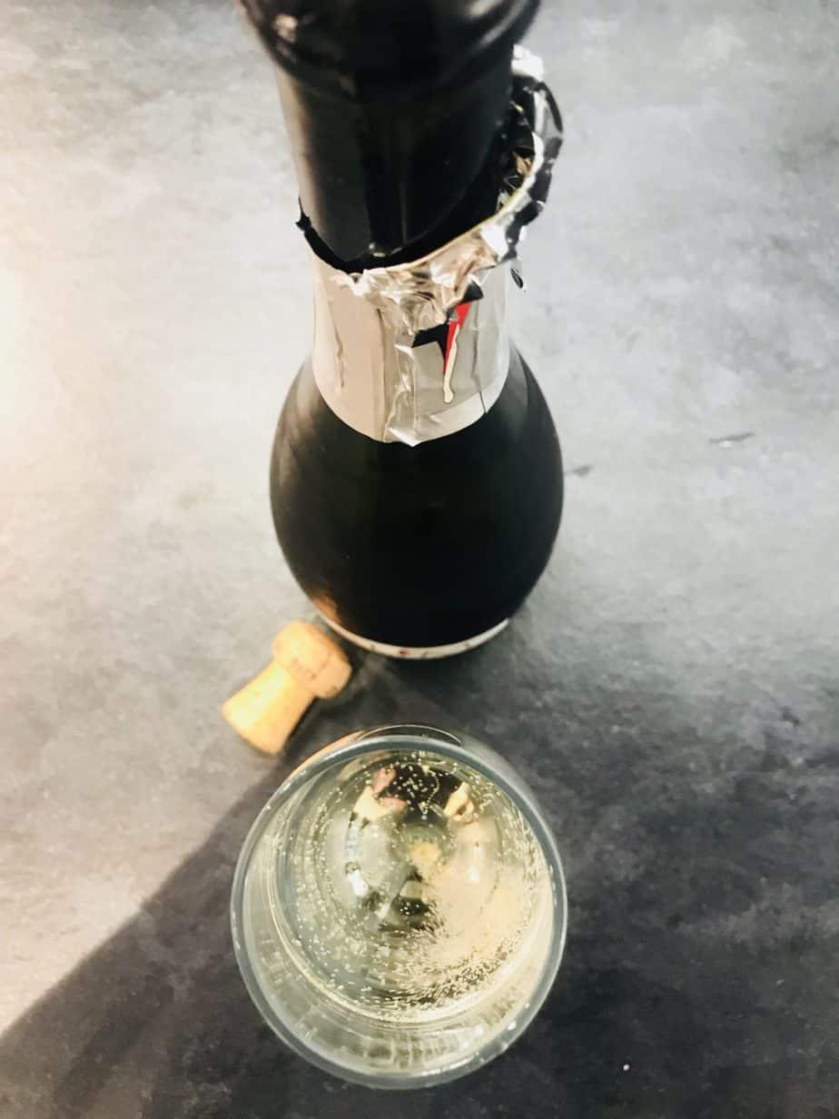 Sparking wine bottle of slimline wine from a birds eye view