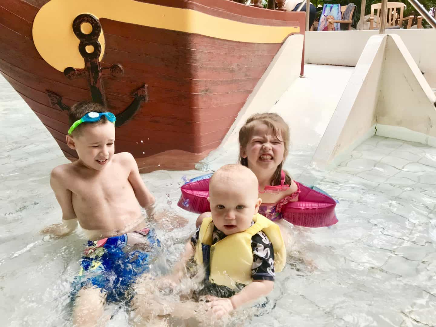 All there children in the baby pool at Center Parcs Sherwood forest