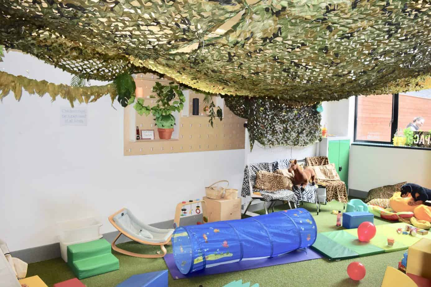 The jungle themed baby room a Playfest impact hub birmingham