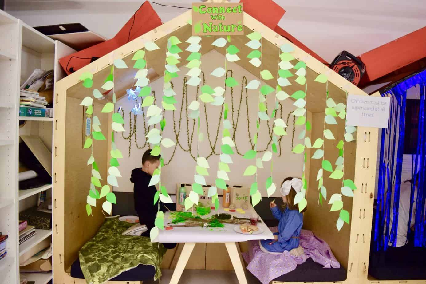The booth where the children could play with nature and paint