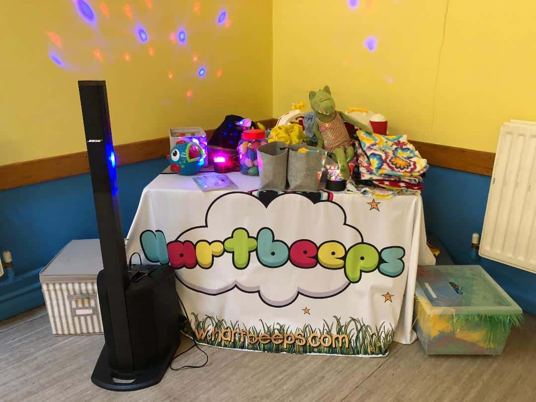 Hartbeeps sign and sensory equipment used for the classes