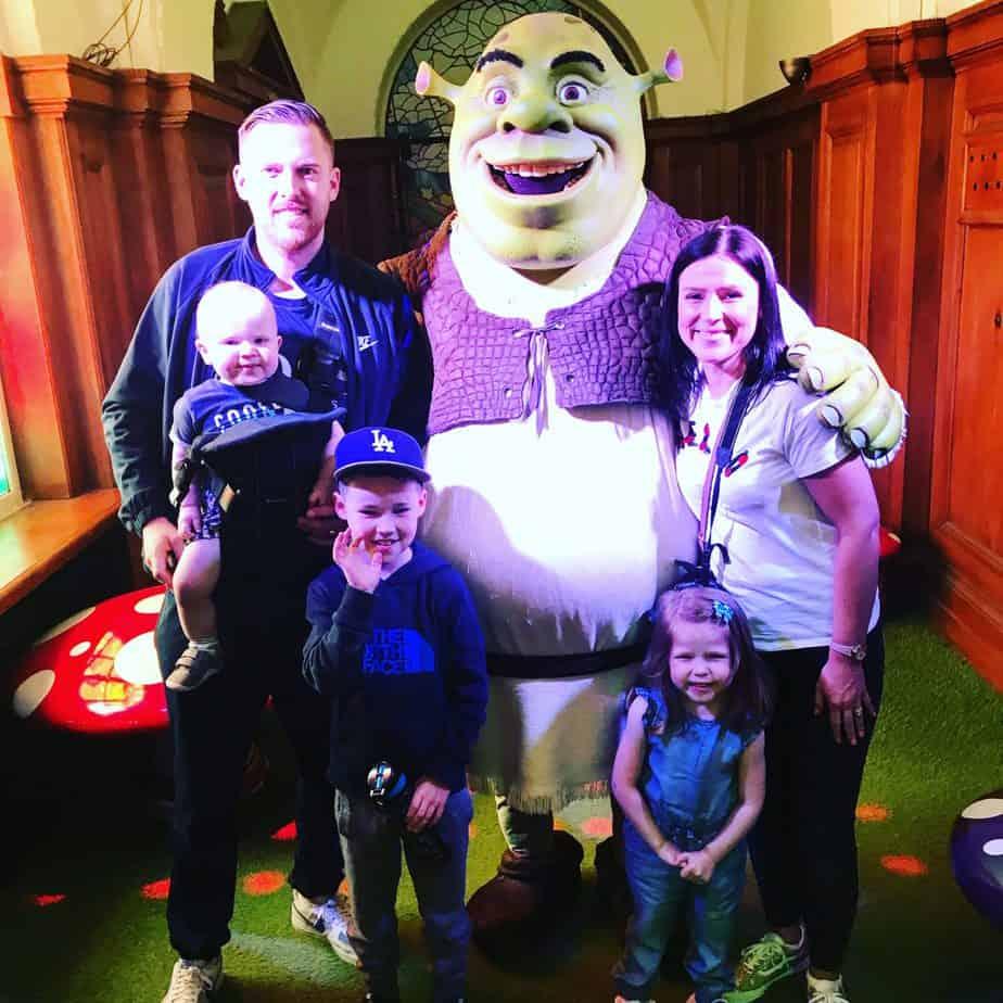 Me with Matt and the children meeting Shrek at Shrek's Adventure
