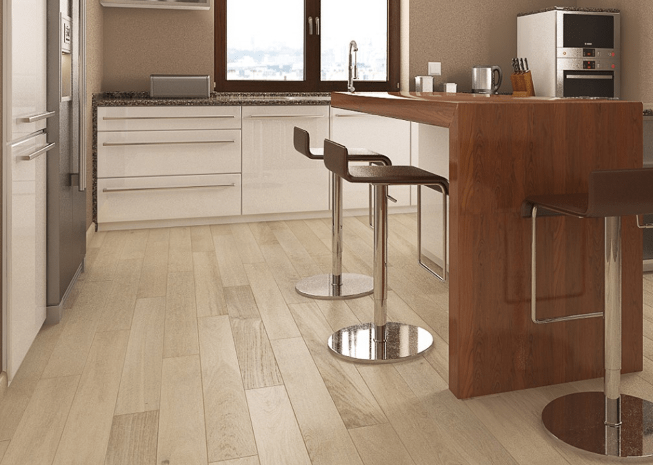 Photo of a kitchen with cappuccino oak laminate flooring