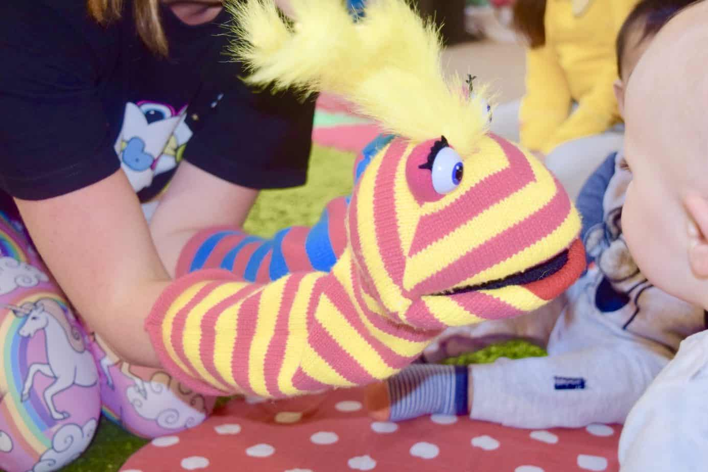 A puppet used during sing time and to say hello to the children during our Hartbeeps class