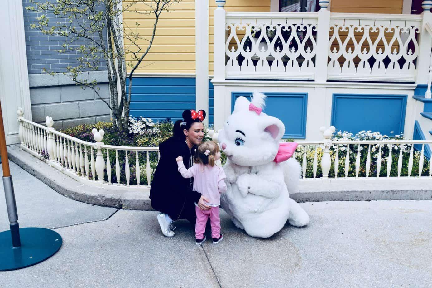 W and I meeting Marie Disney Characters at Disneyland Park Paris