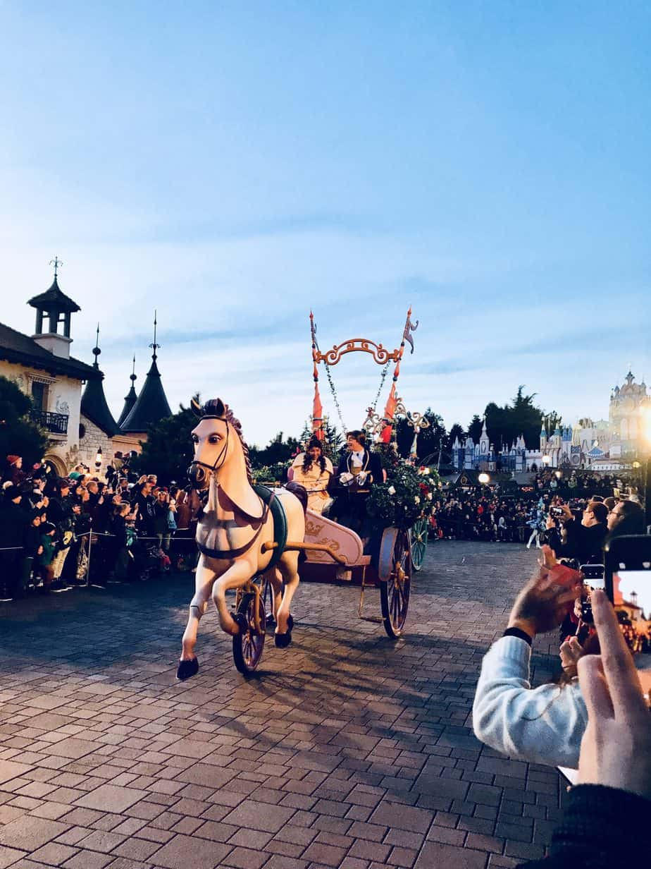 Seeing Belle and Prince at the Parade at Disneyland Paris