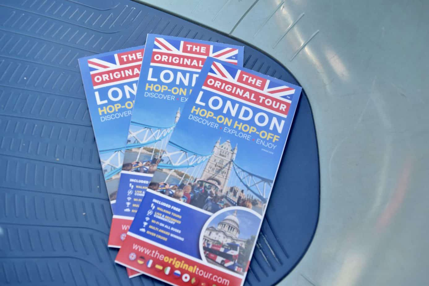 The original London bus tour leaflets available from staff and the head office