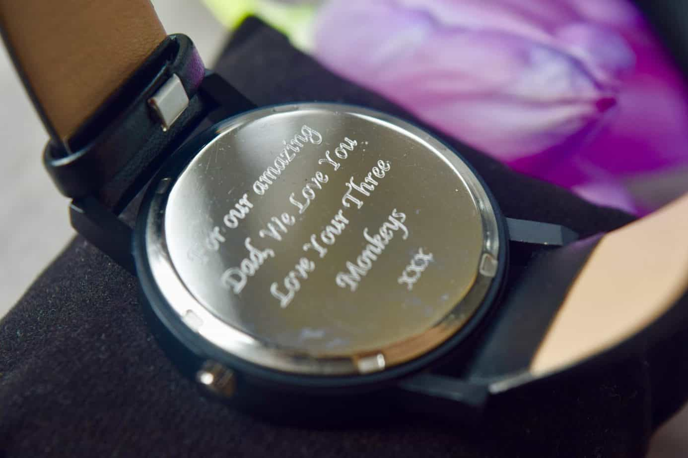 Personalised Father's Day message on the handless personalised watch