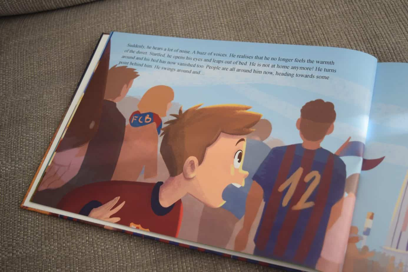 Inside text and illustrations of the personalised football book from The magic Story