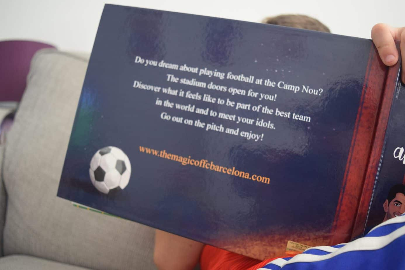 Back of the hardcover of B's personalised football book all about Barcelona FC