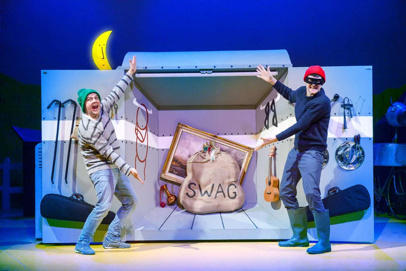 Matt and Edward as the crafty robbers in this Julia Donaldson production