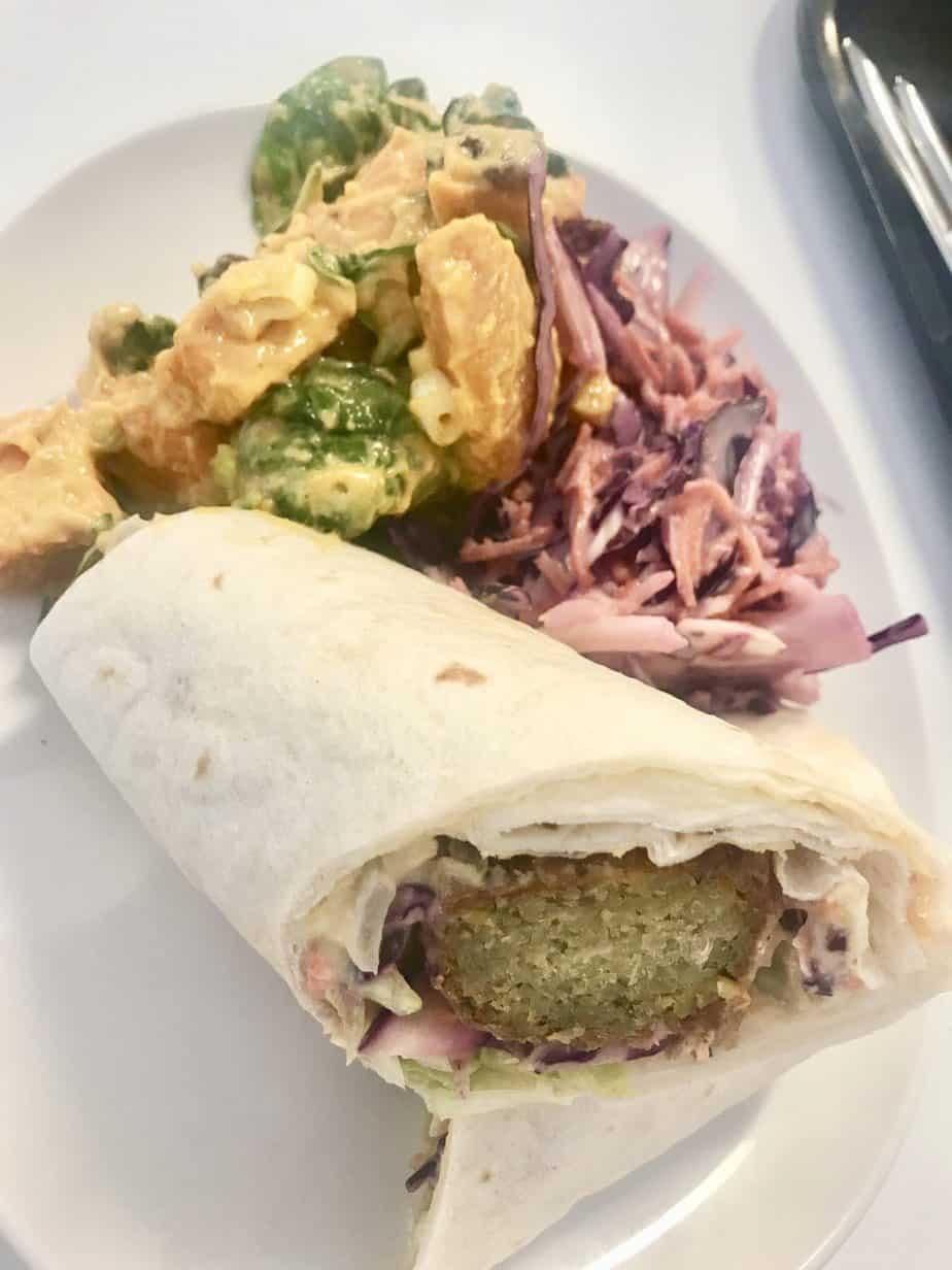 Our falafel and salad wrap offered in the food court at London Zoo