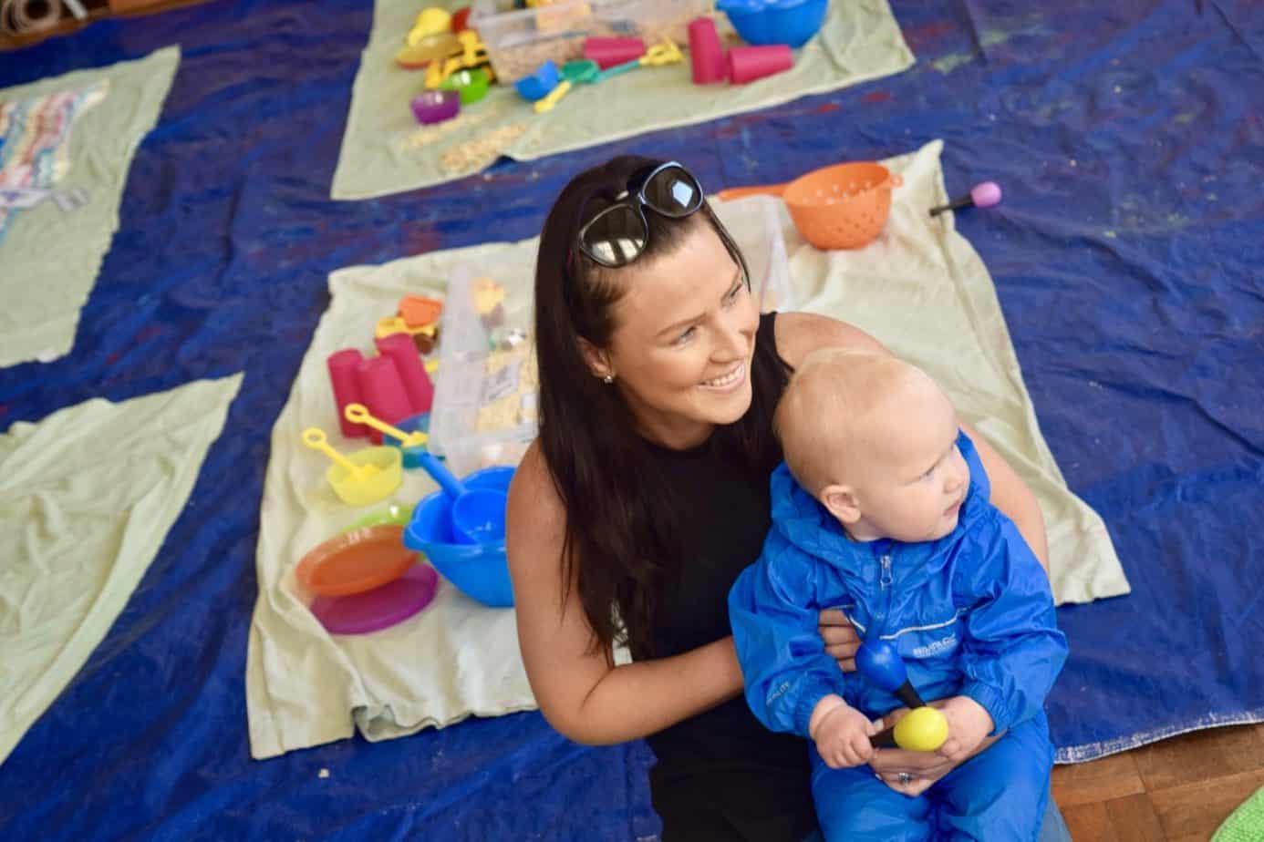 Baby K and I enjoying some circle time at Arty Splats