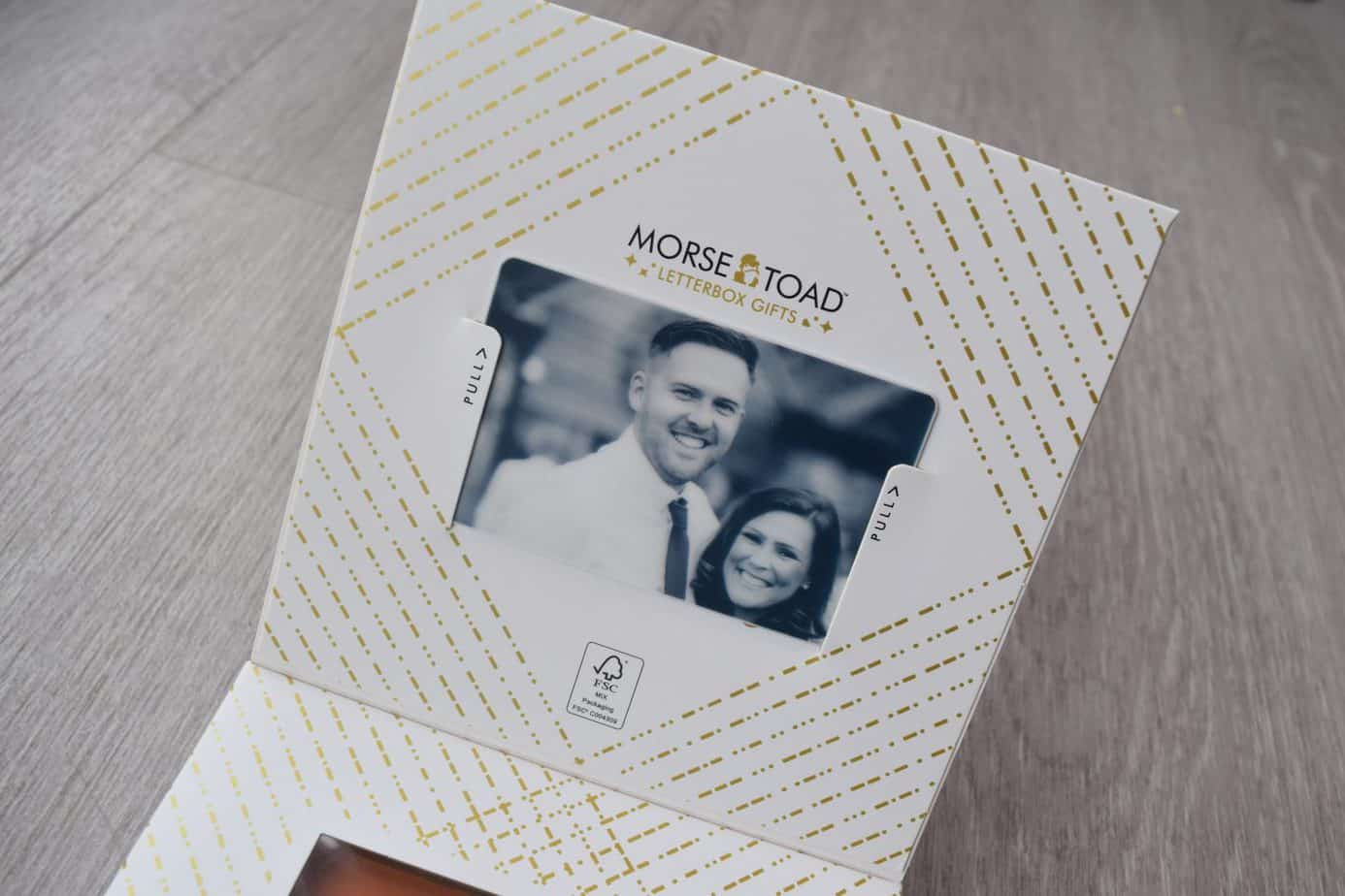 Our personalised photo card of me and matt included in the packaging with morse Toad