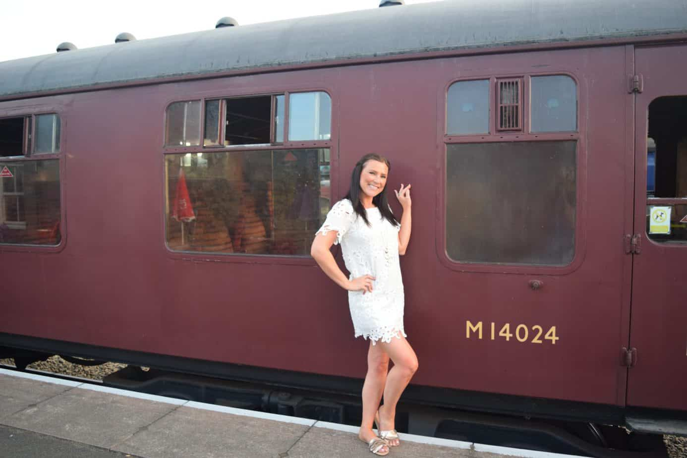 Me outside a steam engine for our Buckt activity