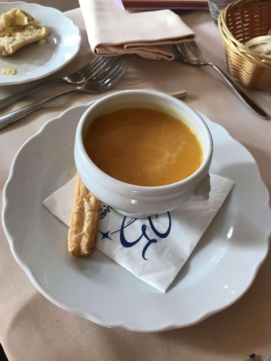 B's pumpkin soup at Auberge de Cendrillon