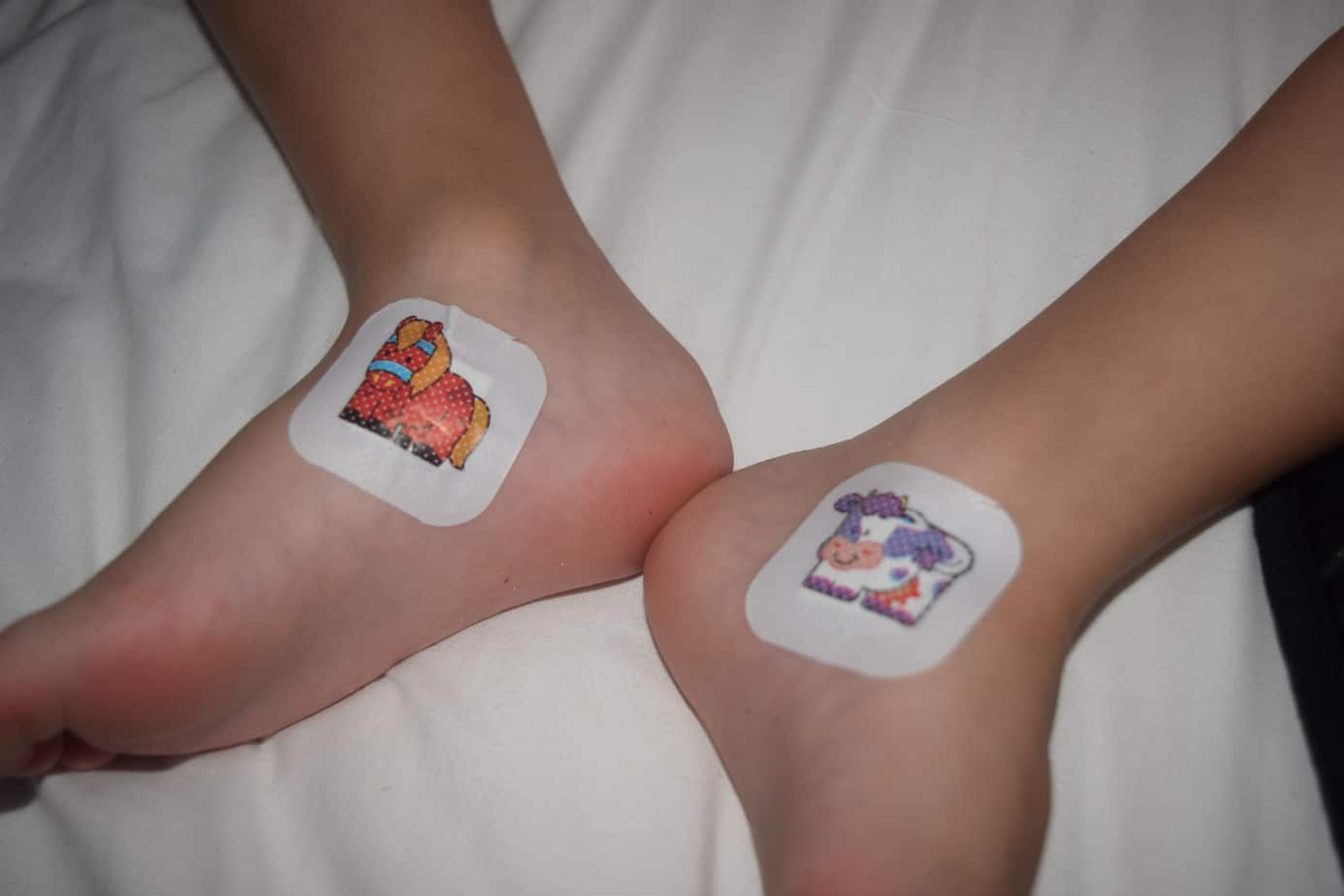 The plasters on W's feet that were provided in our ouch pouch