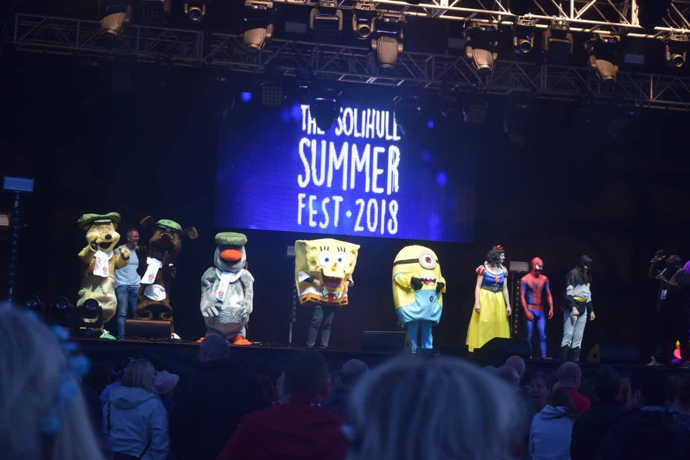 All the mascots on the stage at solihull summer fest