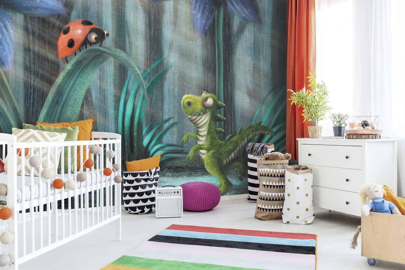 Wallsource dinosaur wall mural is an idea for bedroom makeovers for kids