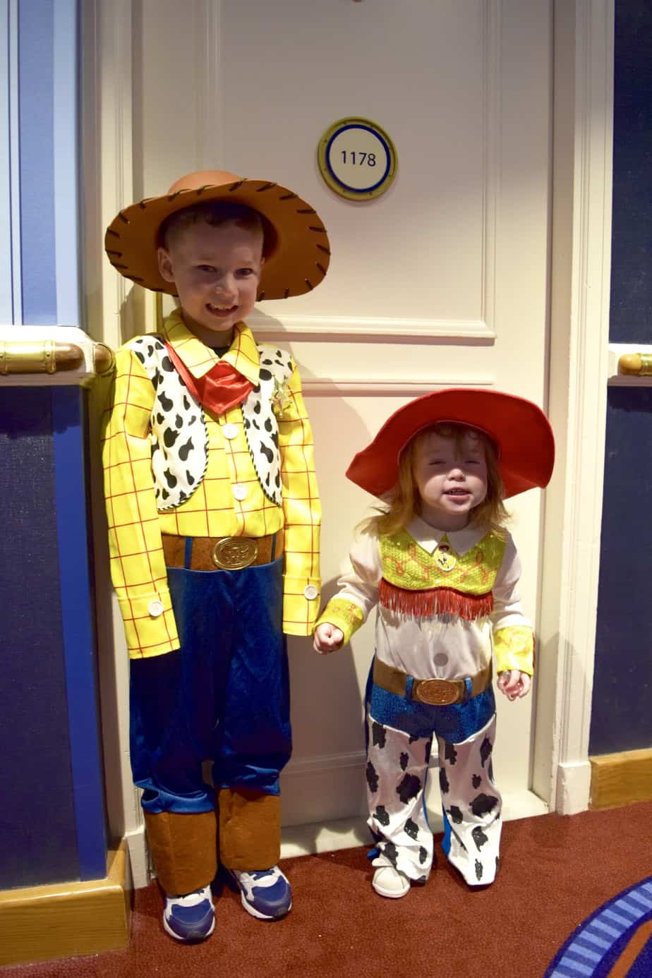 B and W all ready for Buffalo Bill's Wild west show in Woody and Jessie outfits