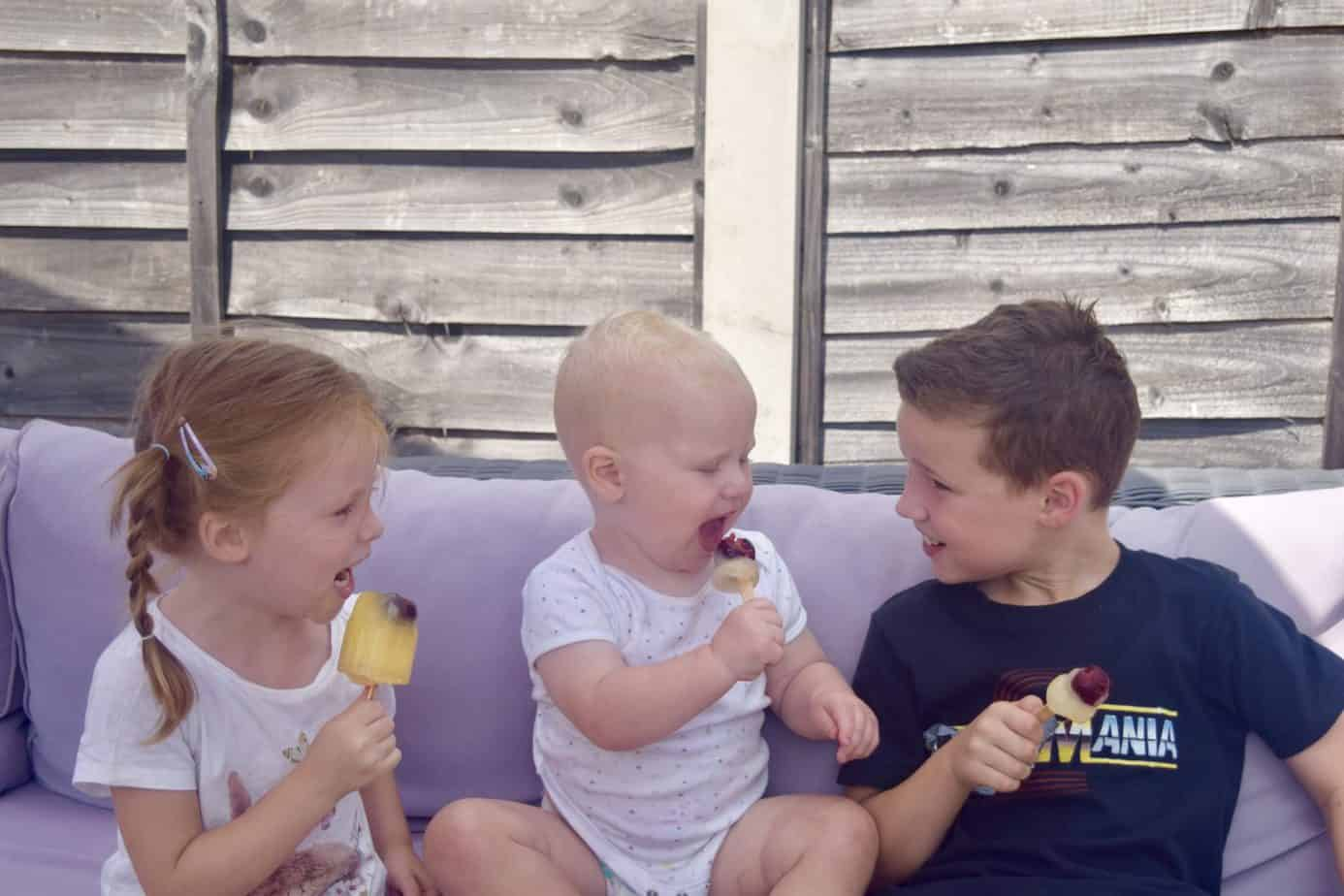 My three beautiful children B, W and K enjoying their #LoveFreshCherries ice lollies