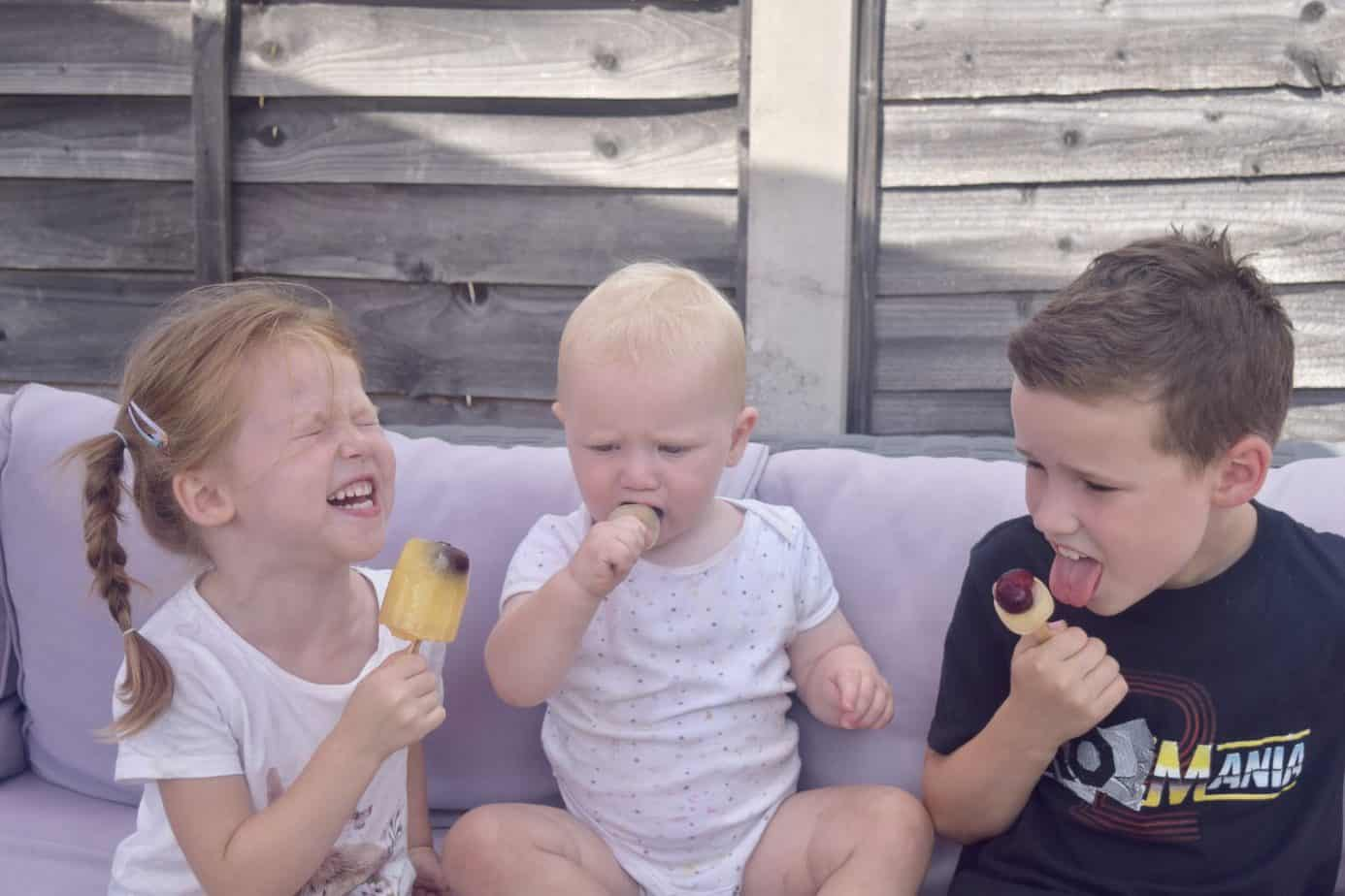 B, W and K having so much fun enjoying their cherry ice lollies