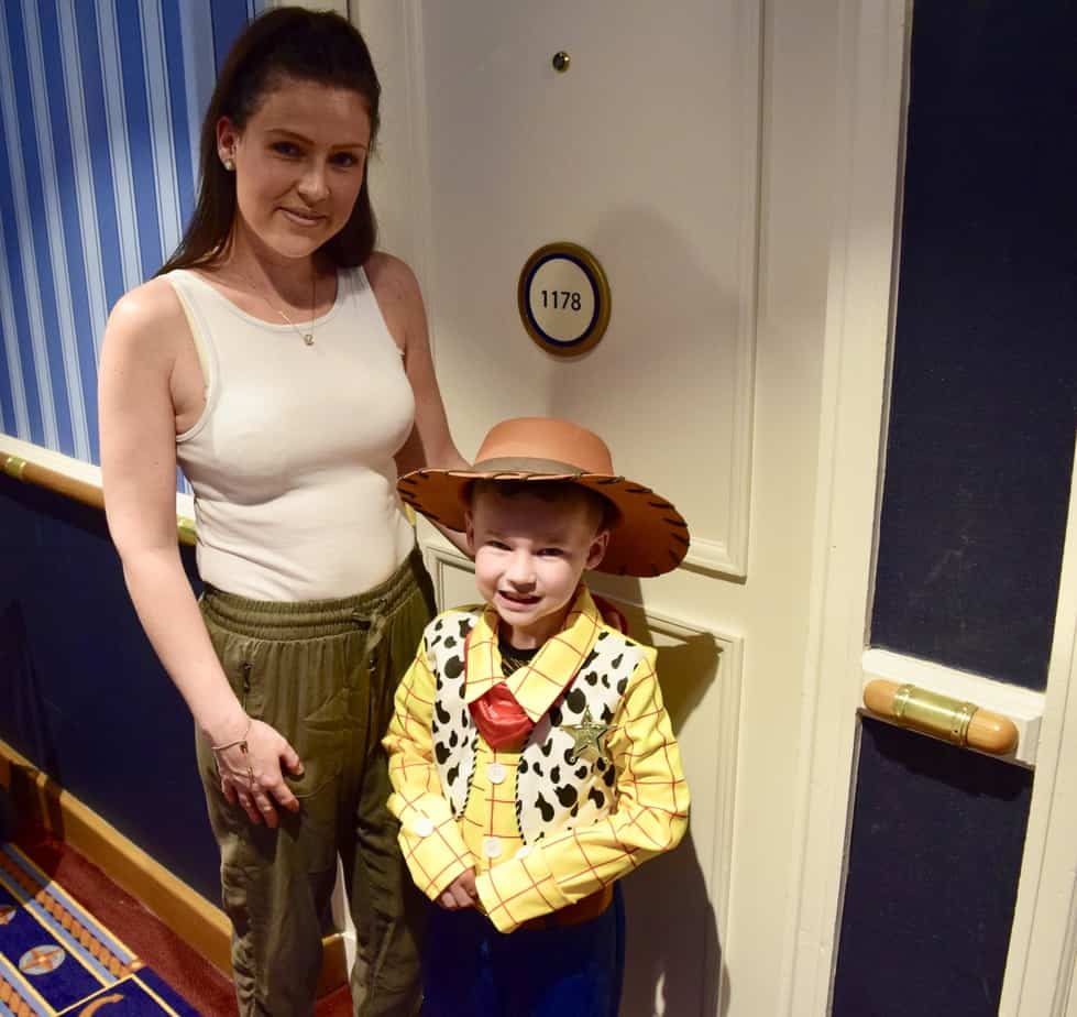 B and I all ready for the show Buffalo Bill's Wild west show outside our hotel room door