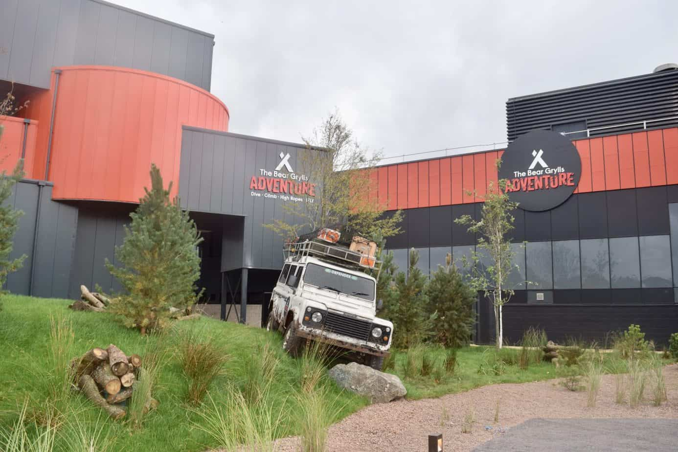 outside exterior of bear grylls adventure showing a jeep