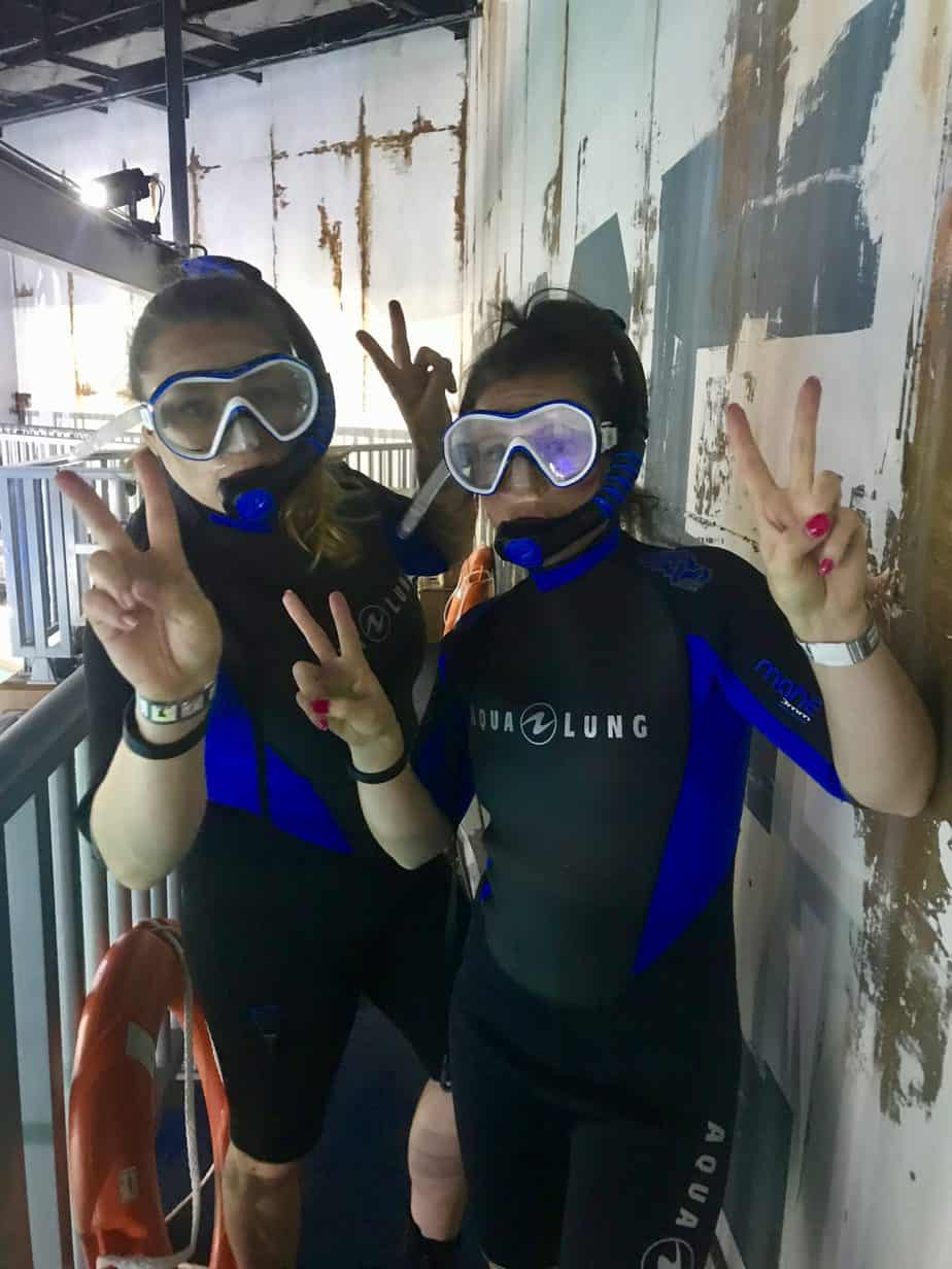My sister and i with our snorkelling kit on