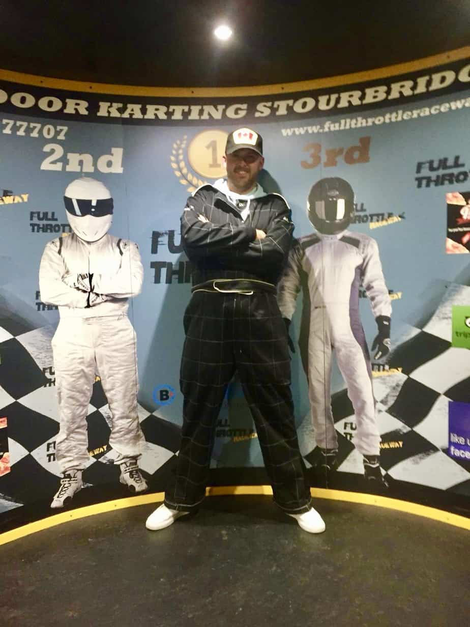 my husband Matt at the Full Throttle Race track provided by Buckt
