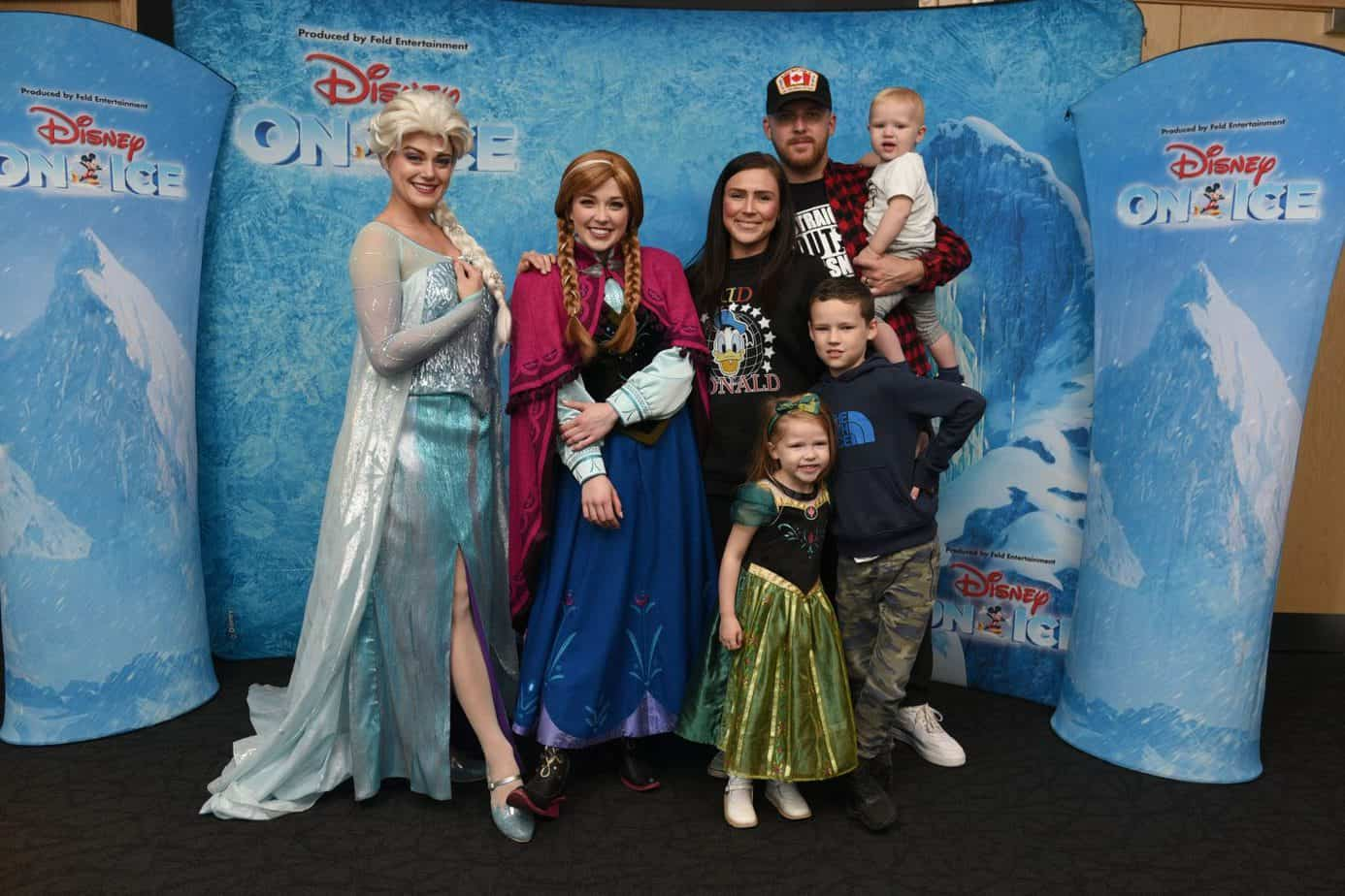 Me with my family with Anna and Else prior to Disney on Ice