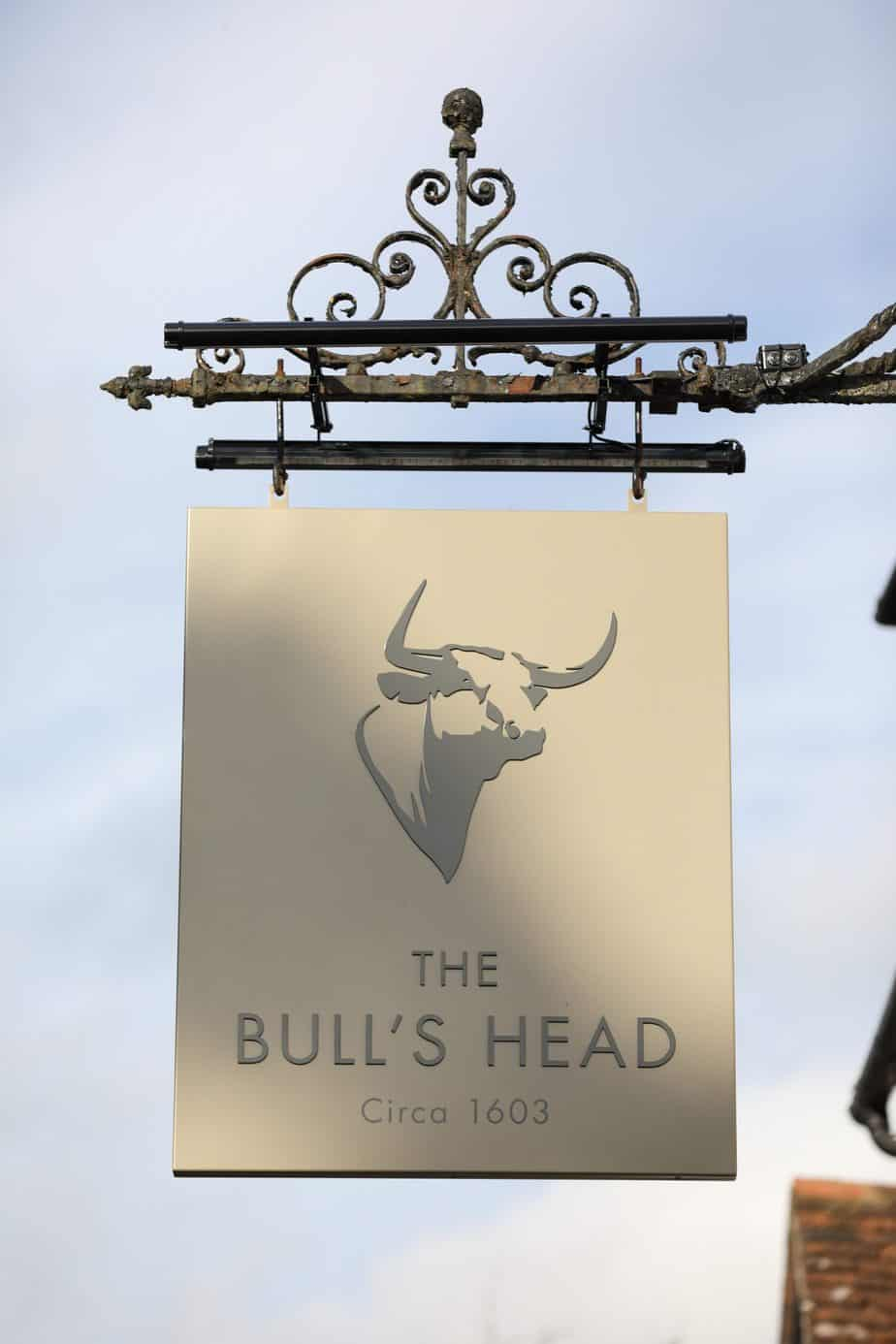 `The Bulls Head sign outside the restaurant and bar