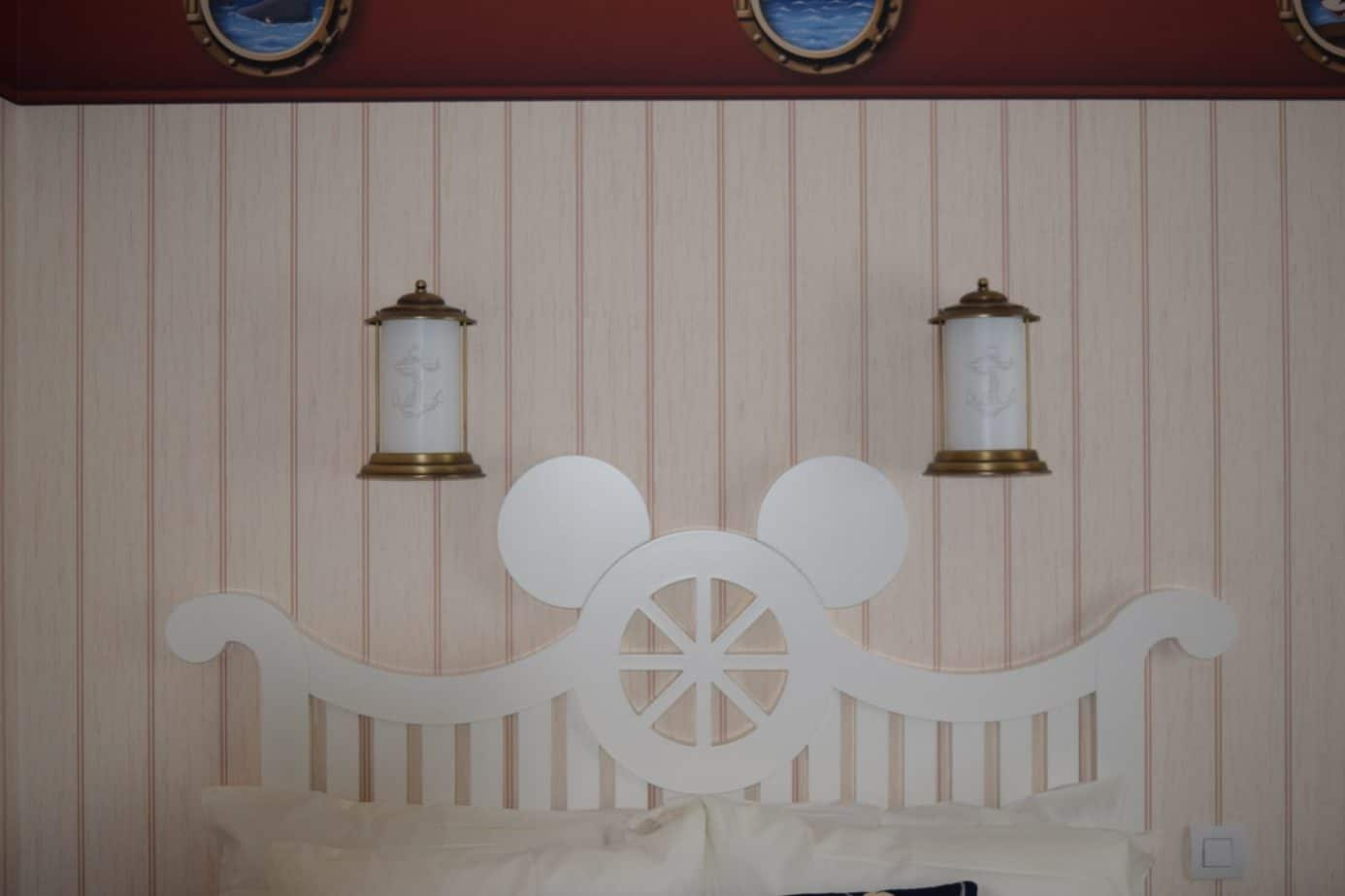 Some mickey interior (bed frames with a mickey face on it) a Newport bay hotel