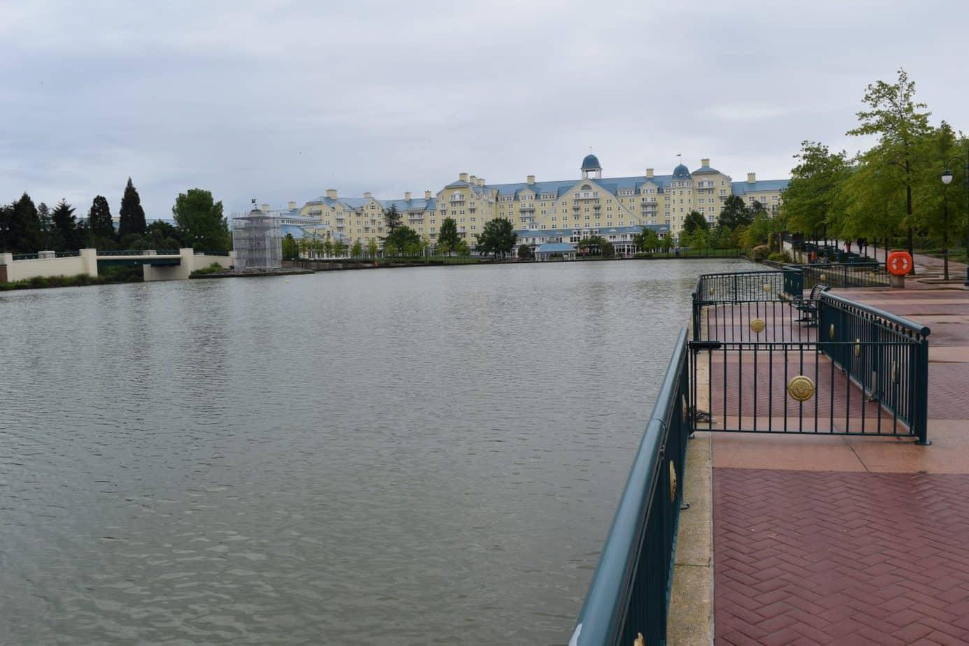 Disneyland Paris Newport Bay hotel exterior overlooking the lake