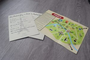 A map and writing activity of paris in our subscription box
