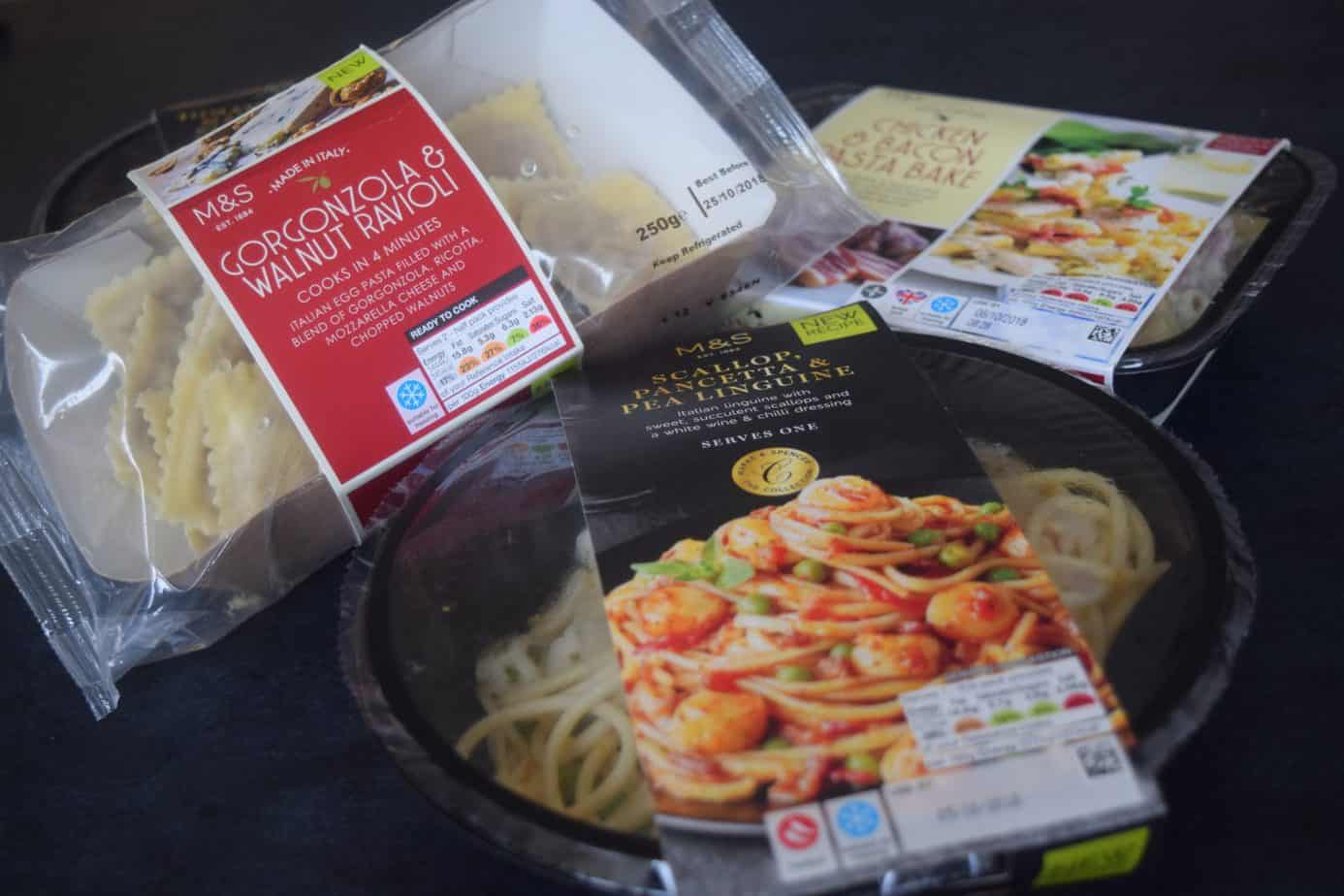 A close up of the dishes we had from Marks and Spencer's Italian Range