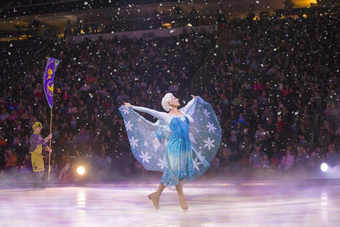 Elsa in the snow at Disney on ice