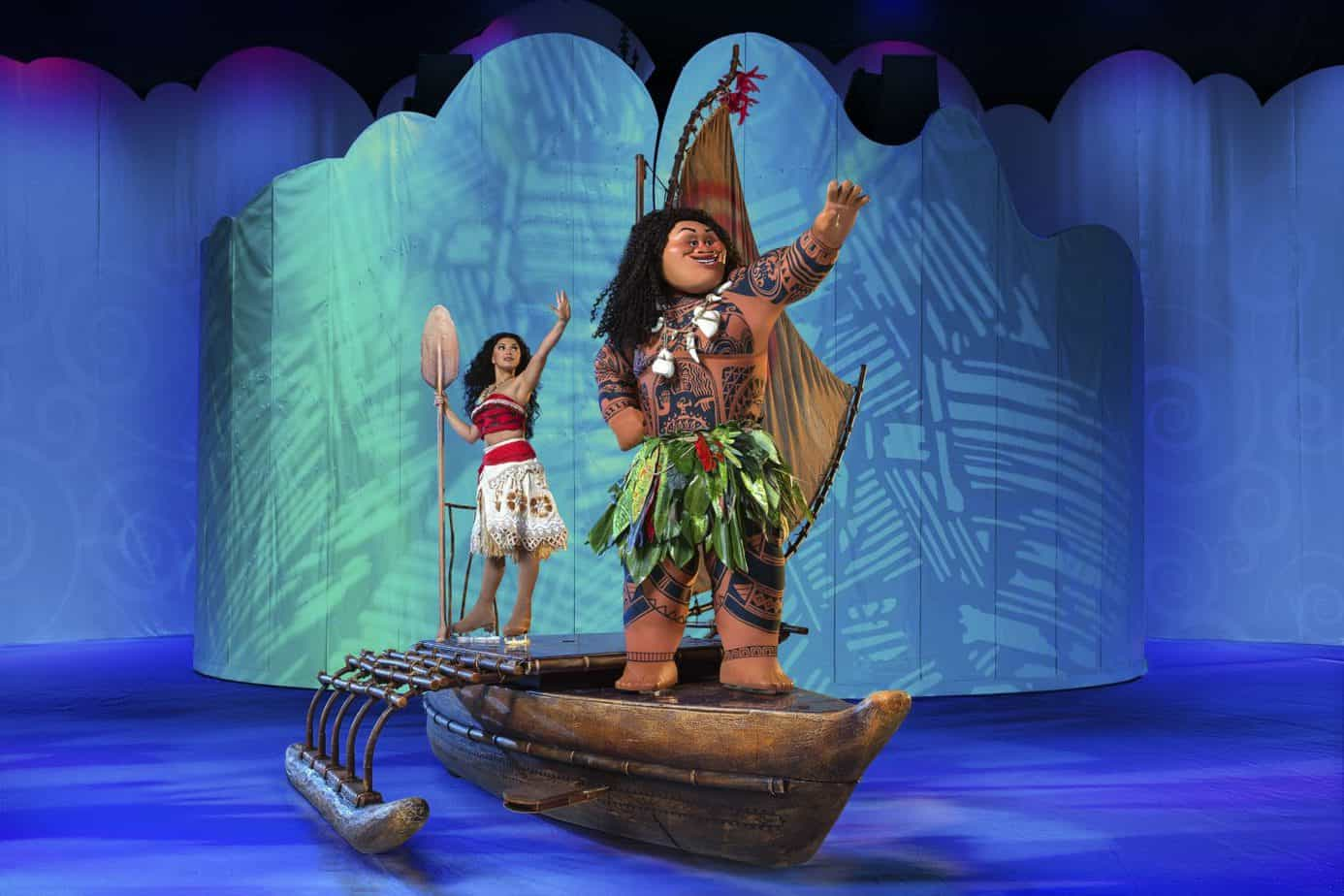 Moana and Maui on their boat on the ice