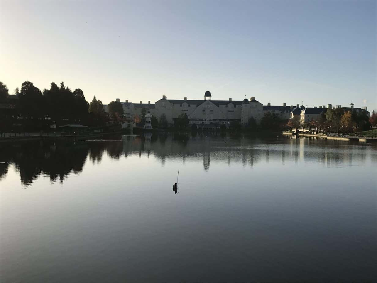 A view of the Newport bay hotel across from the lake with the early sun rising!