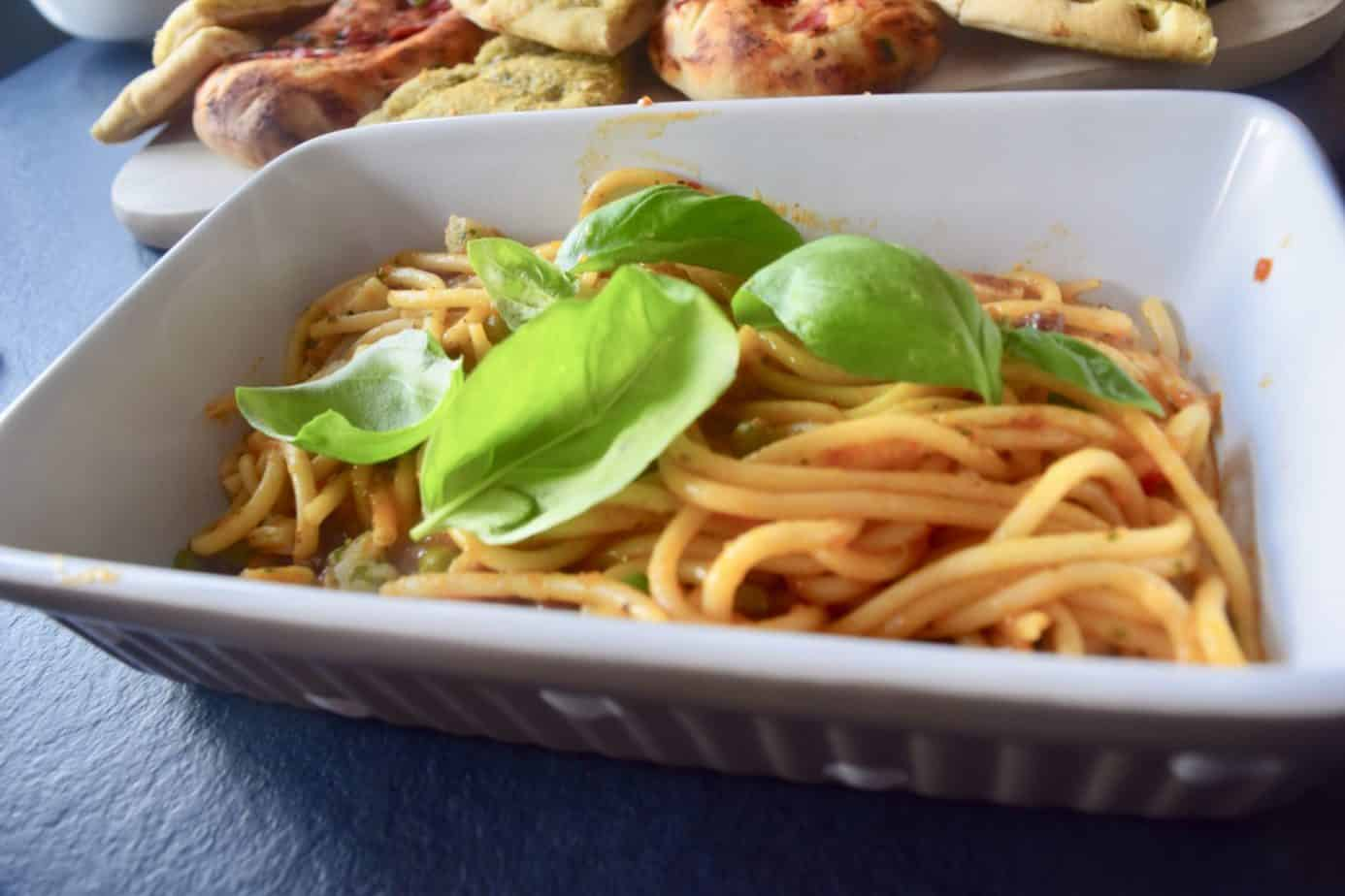 scallop pea and pancetta linguine from Marks and Spencer's Italian