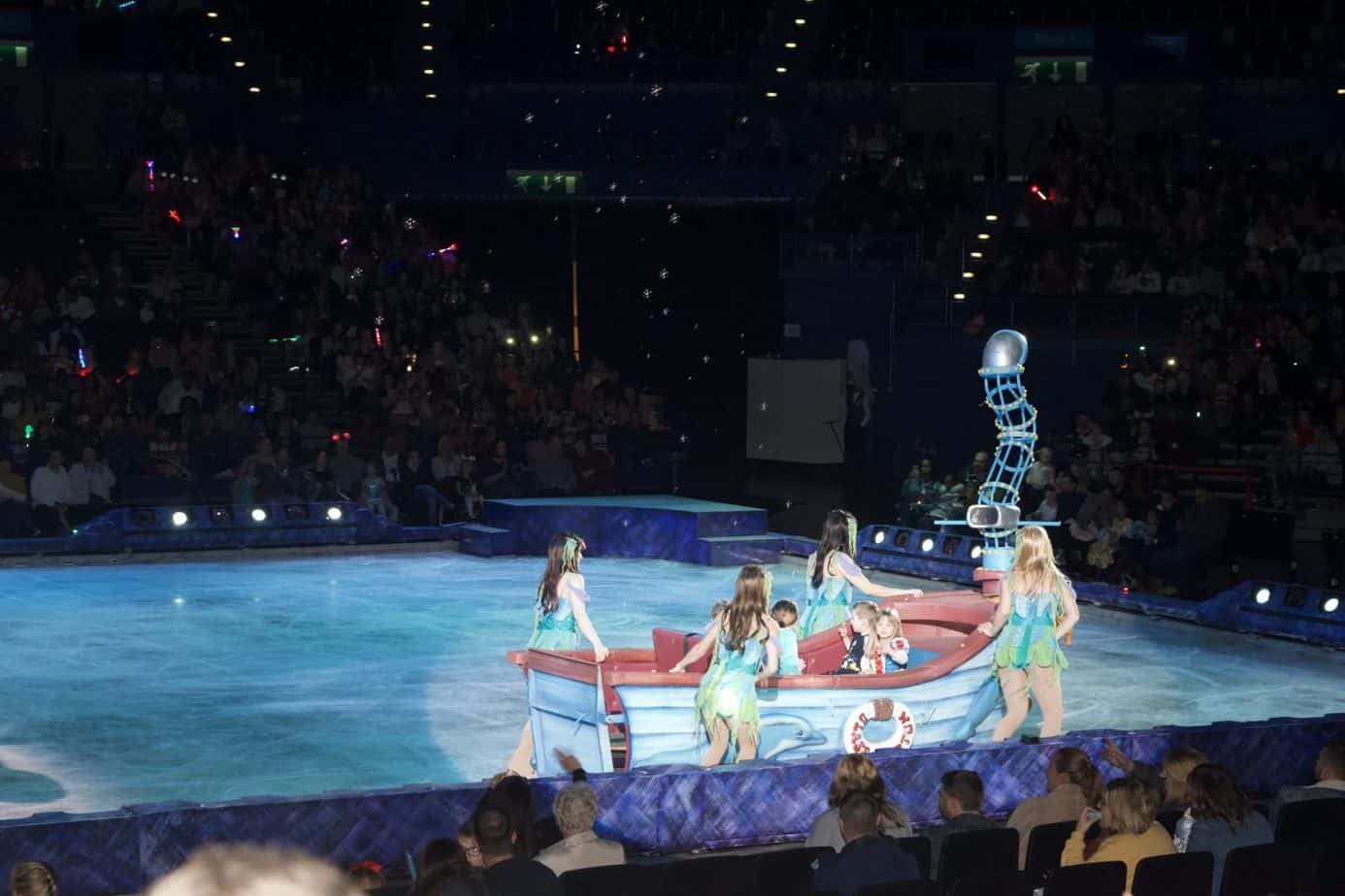 The little mermaids boat with special guests sailing across the ice