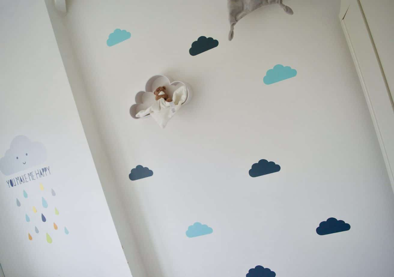 One wall completed with cloud stickers