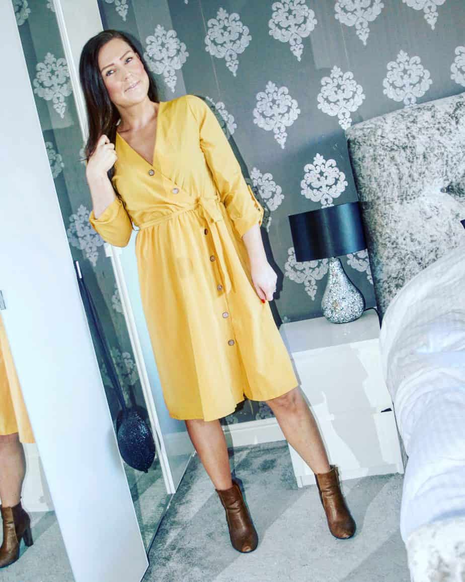 Mustard coloured dress from Femme Luxe Finery