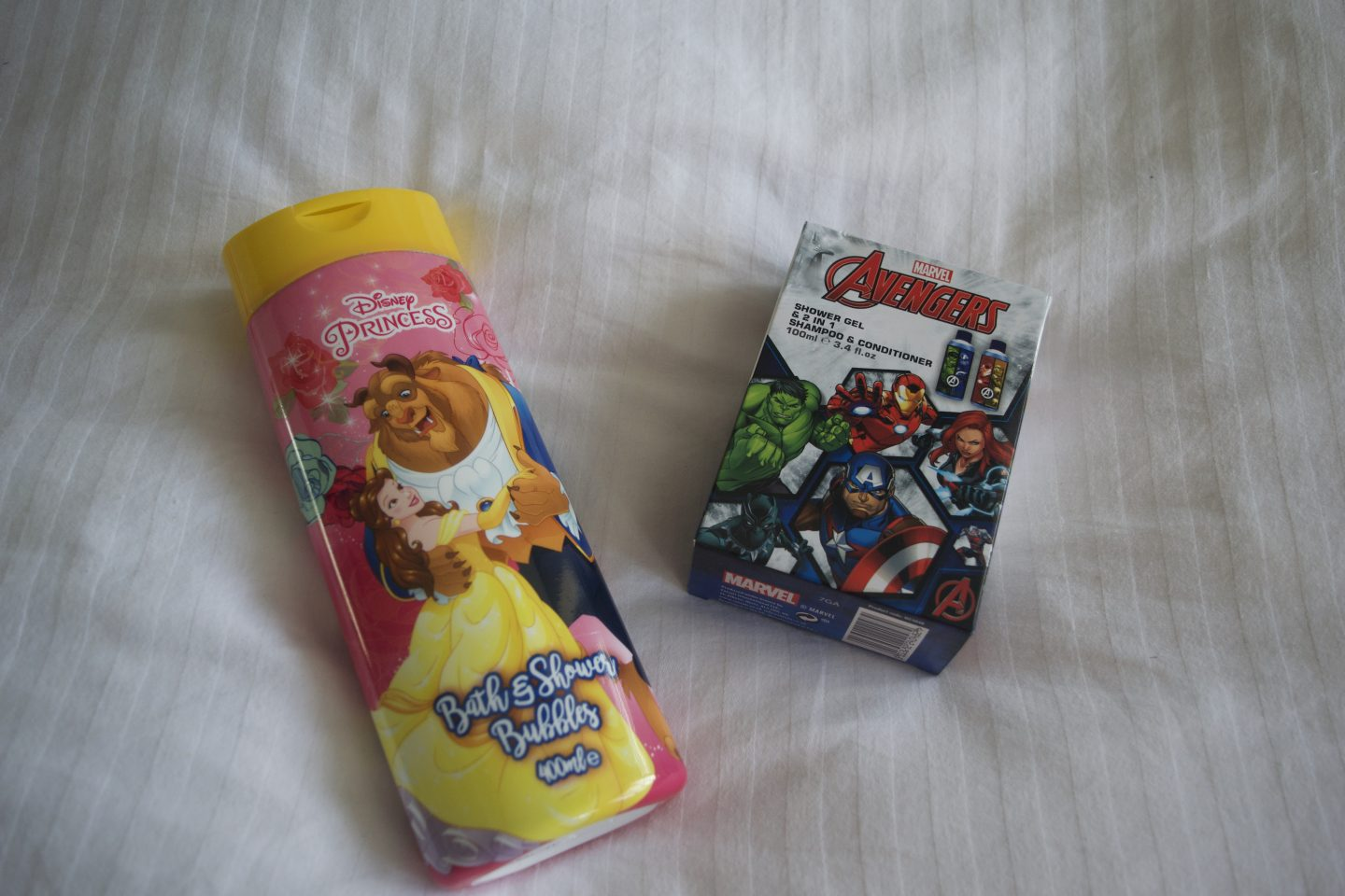 Disney bubble bath and Marvel bath wash