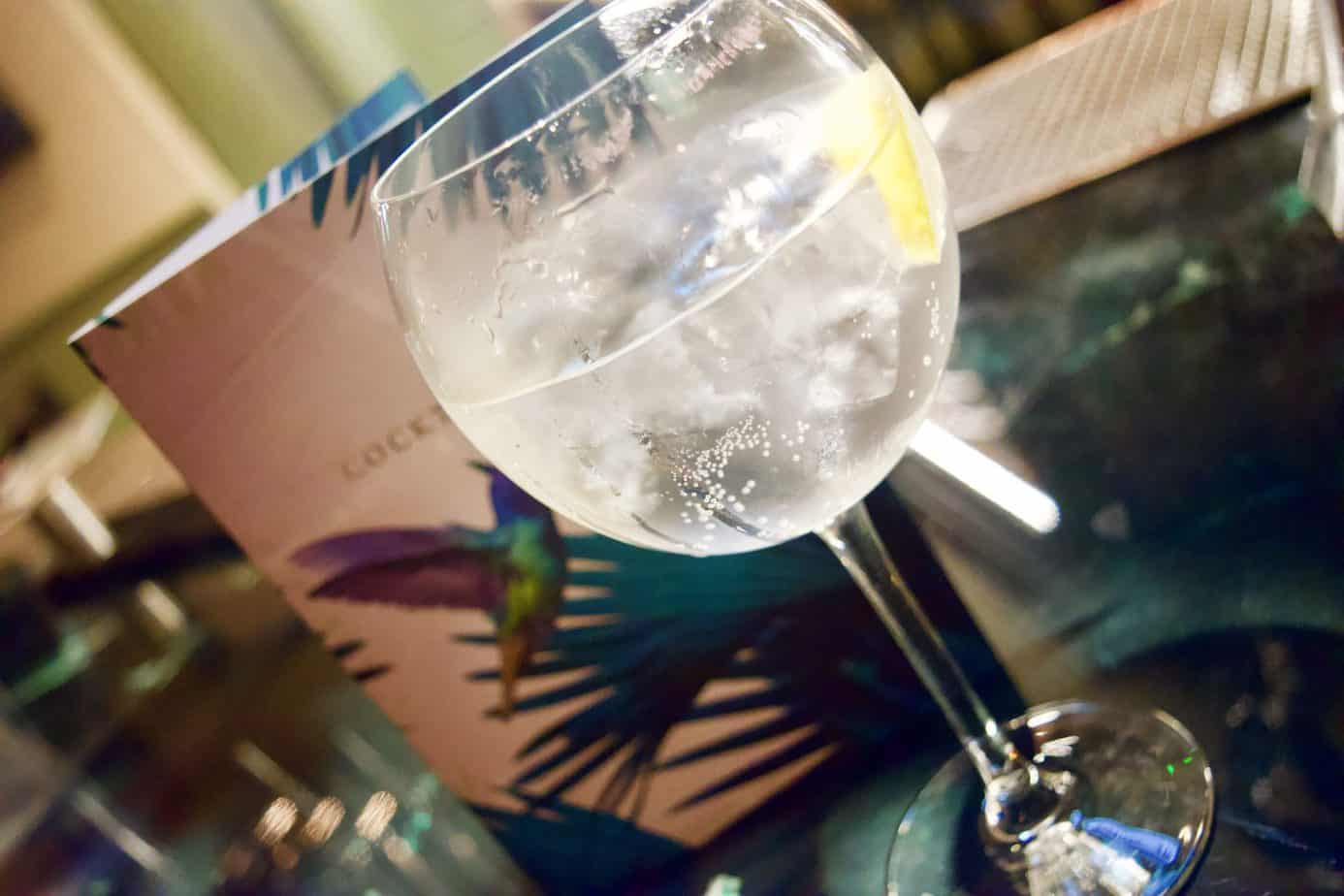 A close up of my gin and tonic at the bar in the green house pub in sutton coalfield