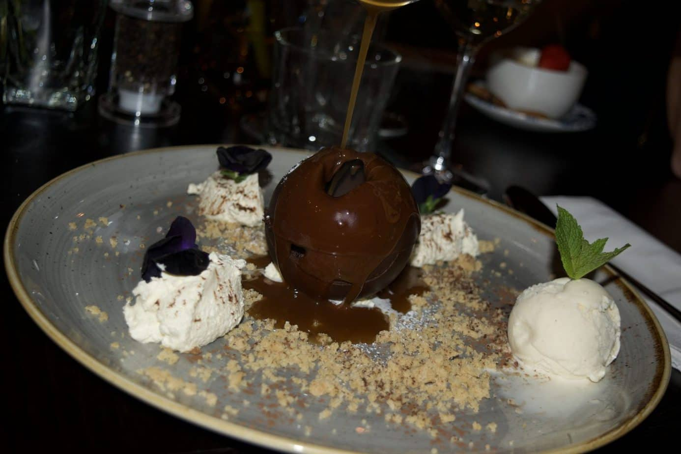 Melting chocolate and peanut bomb at the green house pub in sutton coldfield