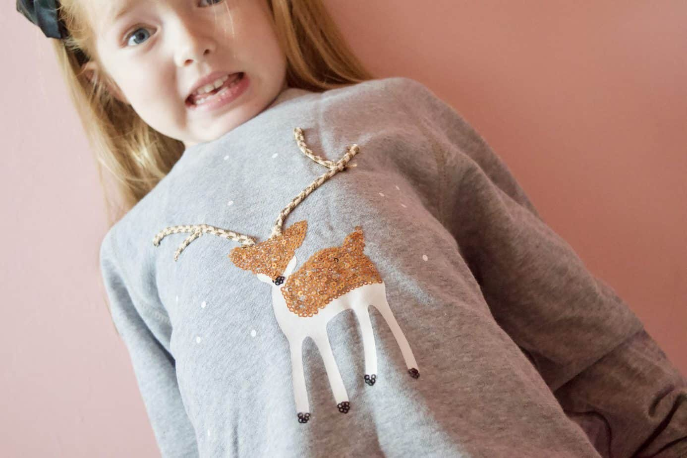 Mintie by Mint Velvet grey sweatshirt with reindeer detail with gold sequins