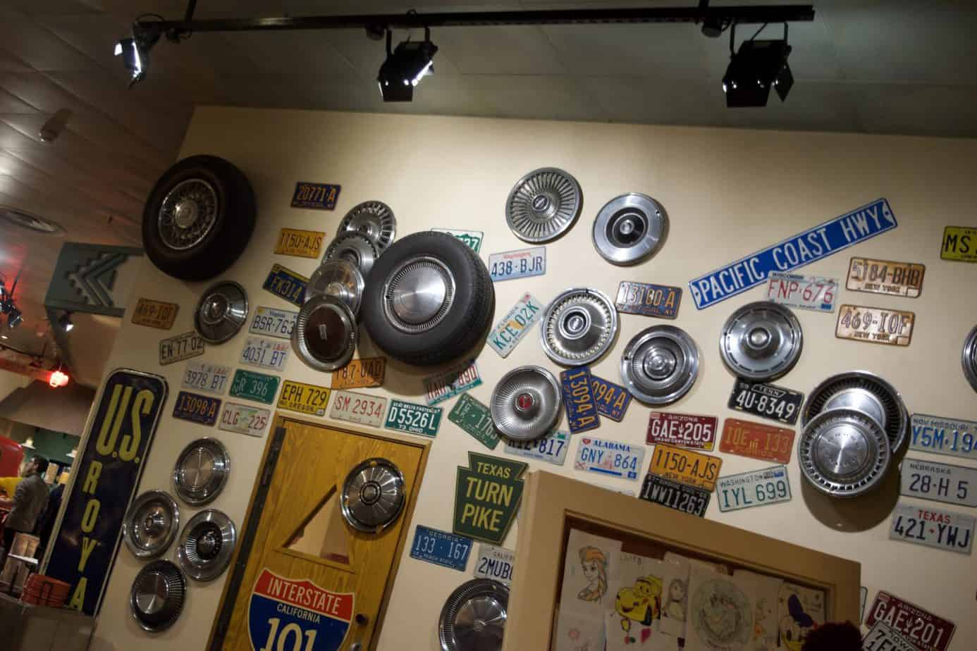 The interior of the hotels onsite restaurant La cantina at Disneys Sante Fe Hotel showing all tyres on the wall